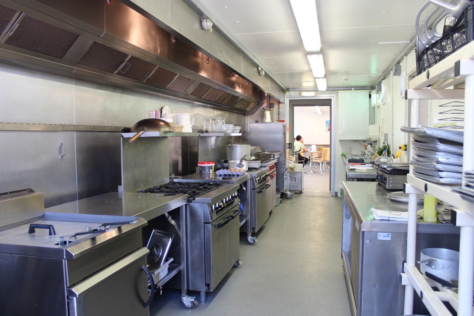 Temporary Kitchen At School During Refurbishment