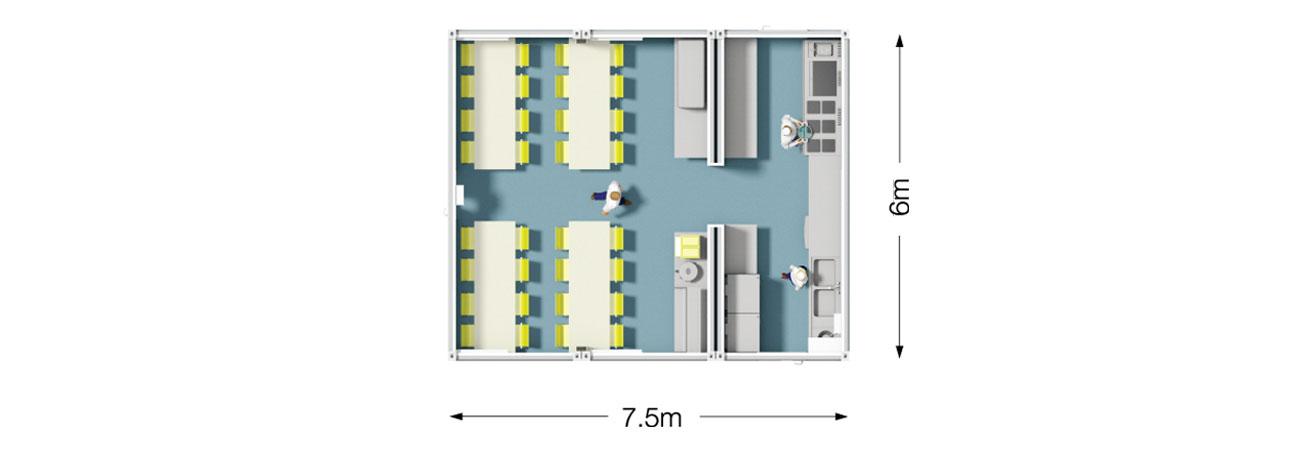 TW 100 Modular Kitchen and Dining Plan