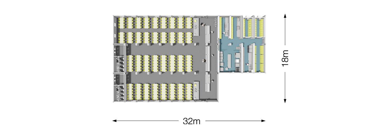 TW 800 Modular Kitchen and Dining Plan