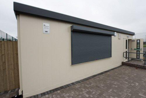 Modular building painted exterior