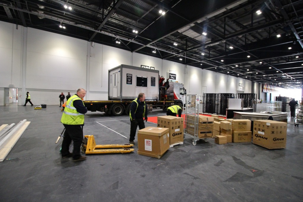 Setting up the stand at Hotelympia