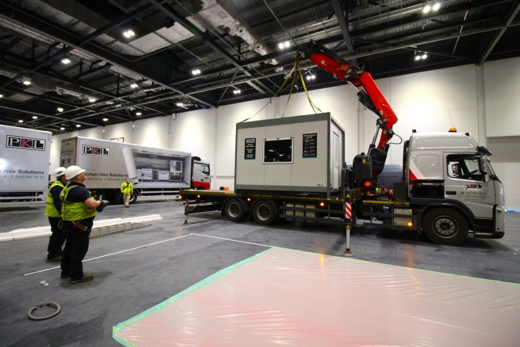 Delivering the temporary kitchen to Hotelympia