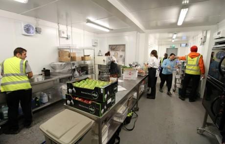 Open plan temporary kitchen at Lapland UK