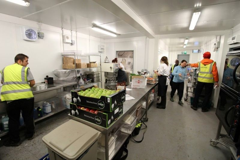Open plan temporary kitchen at Lapland UK